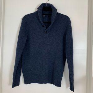 J.crew  lambwool shawl collar navy sweater.